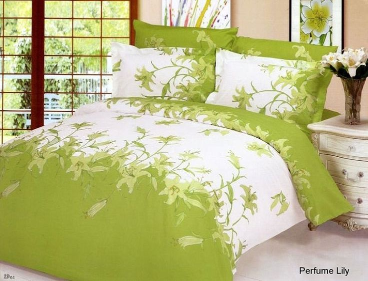 green bed sheets perfume lily floral white green bedding 6pc queen duvet cover set for. Black Bedroom Furniture Sets. Home Design Ideas