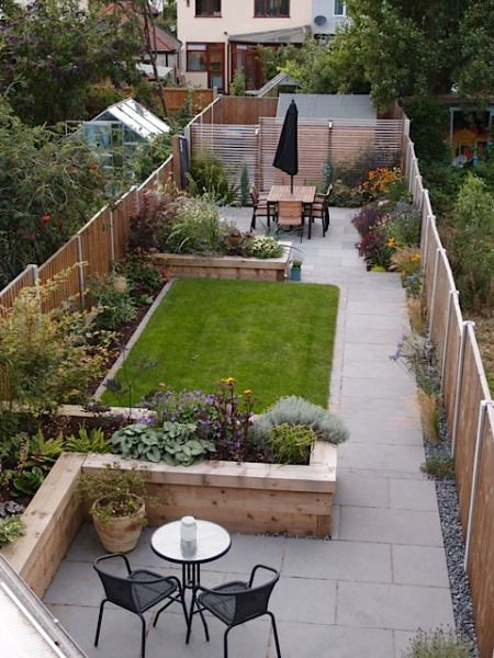 Professional couple's small garden with a neat rectangle of lawn separating two seating areas.