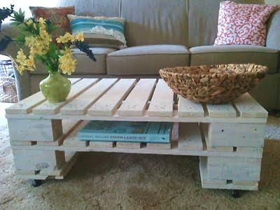 Coffee table out of pallets. I'd want it stained a bit darker (or painted) to avoid the college dorm look.