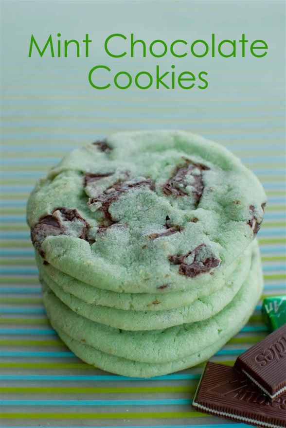 *Grinch cookies*  Mint Chocolate Chip Cookies  Mint Chocolate Cookies  2 3/4 cup flour  1 tsp baking soda  1/2 tsp baking powder  1/2 tsp salt  1 cup butter (at room temperature)  1 1/2 cup sugar  1 egg  1 tsp mint extract  15-20 drops green food coloring  1 bag of Andes mints (chopped)  375 degrees Bake for 8-10 minutes