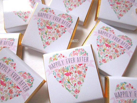 Personalised Chocolates Wedding Watercolour Love heart