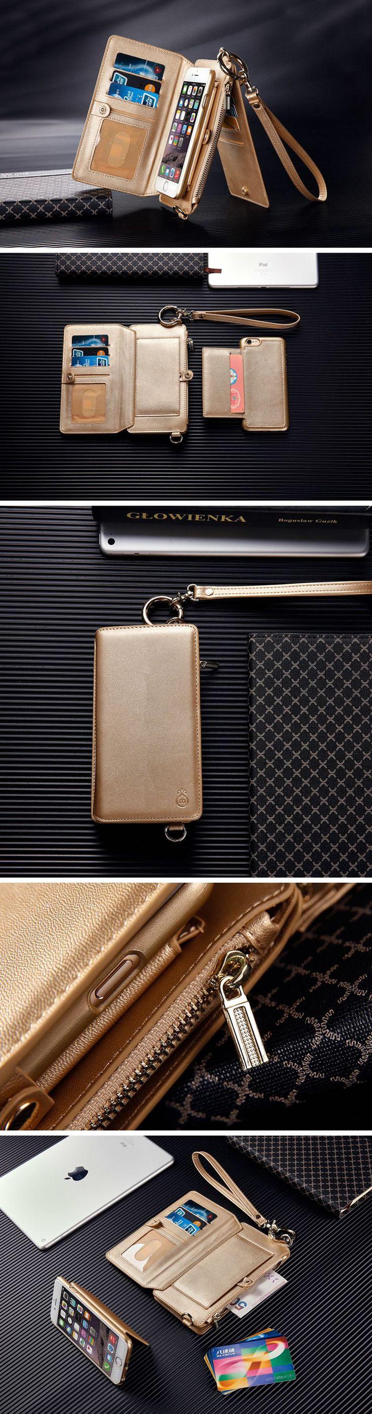 Removable Leather Wallet Holder Filp Card Case Shoulder Bag Purse For iPhone 7