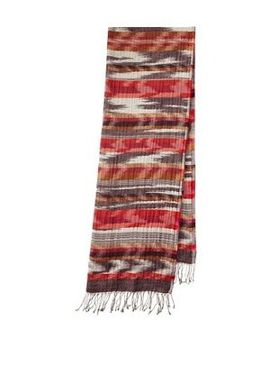 Saachi Women's Woven Stripes Scarf (Wine/Coral)