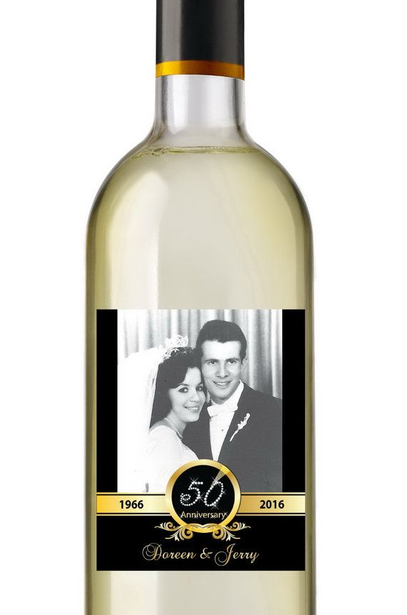 50th Anniversary Wine Labels • Personalized Photo Anniversary Wine Label