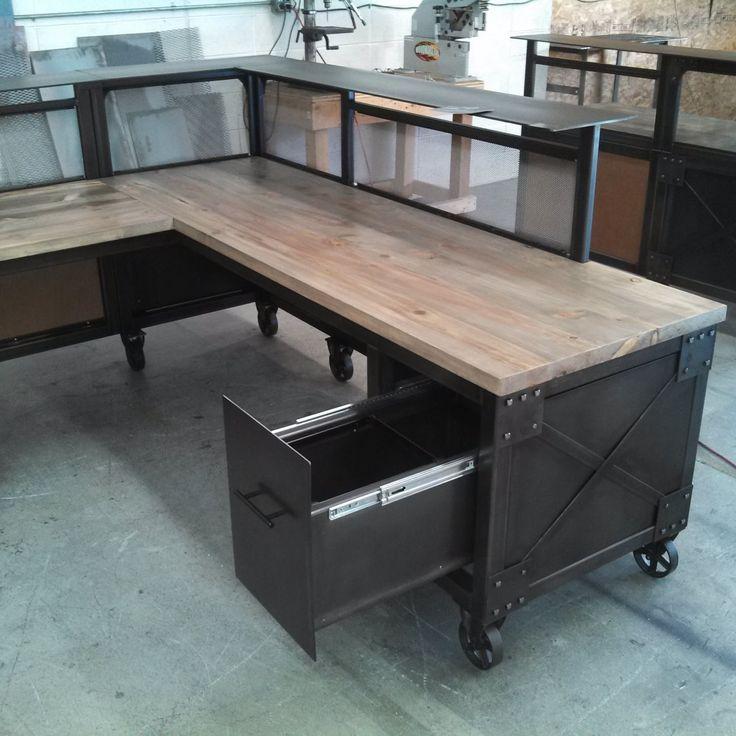 Custom reception desk L shaped desk steel and beetle kill pine desk reclaimed wood and metal