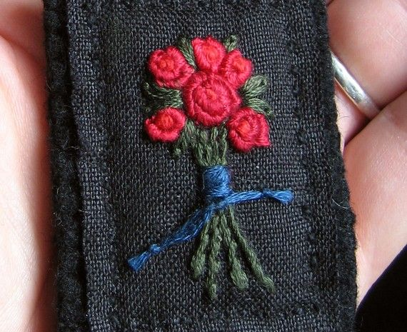 Red Rose Bouquet Brooch  Hand Embroidery on Black by Sidereal
