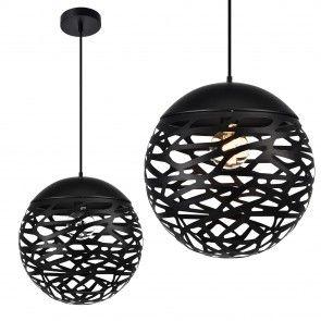 [lux.pro] Dekoratív függőlámpa / Függeszték / Lámpa - fekete gömb alakú