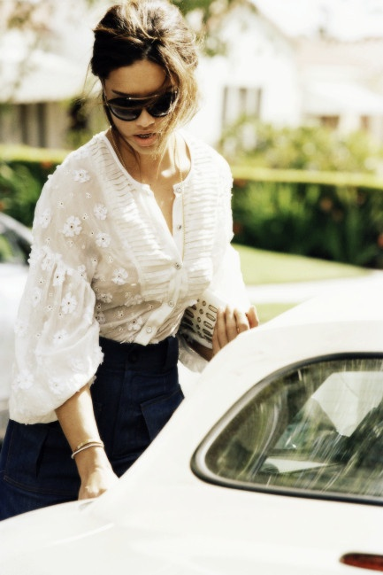Chic look~ Love this blouse & the shades too!