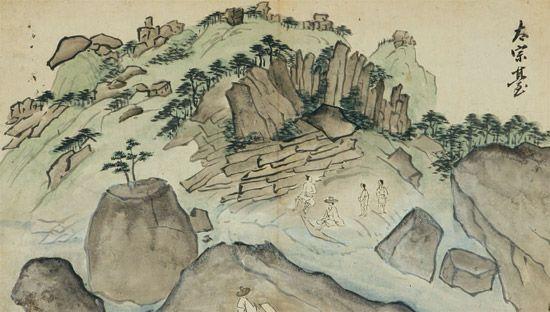 『송도기행첩』 중 '태종대'. 먹의 농담(濃淡)을 이용해 바위의 입체감을 표현했다. [사진 국립중앙박물관] 겸재(謙齋) 정선(1676~1759)과 단원(檀園) 김홍도(1745~1806)는 익숙하지만, 표암(豹菴) 강세황(1713-1791)이라는 이름에 고개가 갸웃거려진다면 이 전시에 주목하시길. 표암 탄생 300주년을 맞아 국립중앙박물관