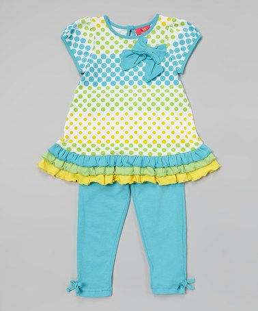 Loving this Capri Polka Dot Drop-Waist Tunic & Leggings - Infant & Toddler on #zulily! #zulilyfinds