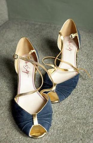 navy and gold shoes