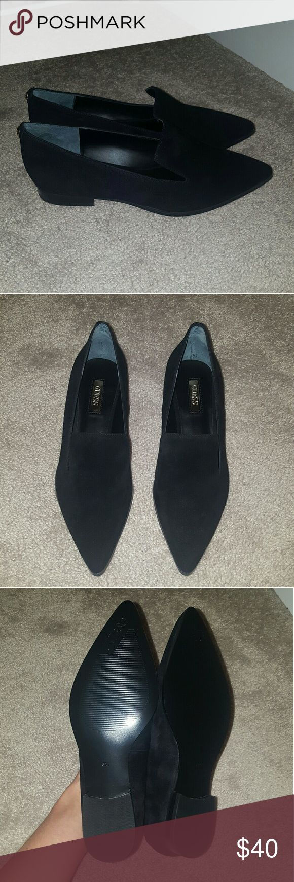 Suede Guess Loafers Black suede loafers from Guess. Brand new with box. The suede is super soft and excellent quality. I love these shoes but just haven't worn them so can't justify keeping them. Perfect for work as well as casual-wear. Open to reasonable offers, but no swaps please. Guess Shoes Flats & Loafers