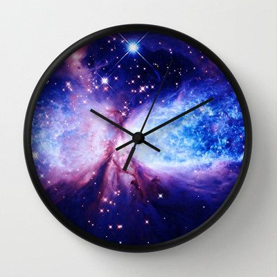 Galaxy Print Clock Galaxy Clock Blue Lavender By 2sweetsHomeDecor Want In 2019