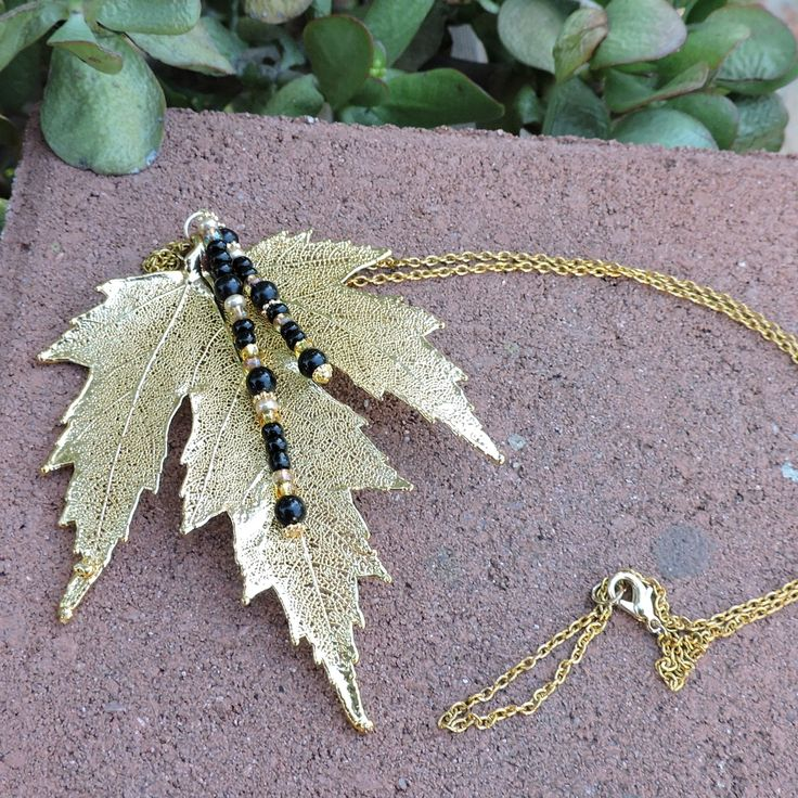 24K Gold Maple Leaf w/Black and Gold Bead Pendant/Necklace