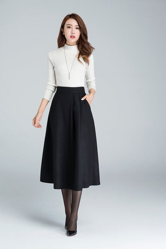 midi skirt, A line skirt, wool skirt, ladies skirt, black winter skirt, womens skirts, fitted skirt, high waisted skirt, Mod clothing 1636