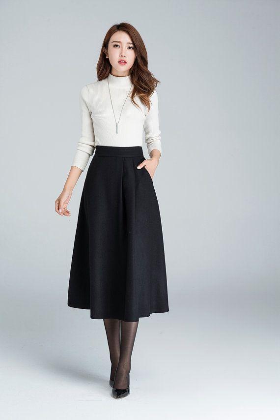 falda MIDI una falda falda de lana falda de las por xiaolizi                                                                                                                                                                                 Más