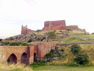 The ruins of Hammershus Castle on Bornholm. Hammershus is Scandinavia's largest medieval fortification.