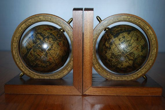 """Vintage """"Old World Style"""" Rotating Globe Bookends - Pair - Office Decor - Mediterranean"""