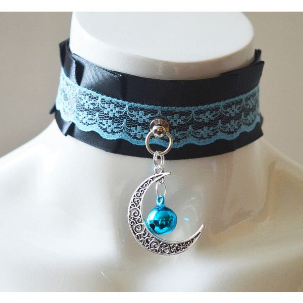 Kittenplay collar Dark moonlight kitten pet play wiccan wicca witch... ($17) ❤ liked on Polyvore featuring jewelry, necklaces, goth choker, charm necklace, gothic choker necklace, goth necklace and ribbon choker