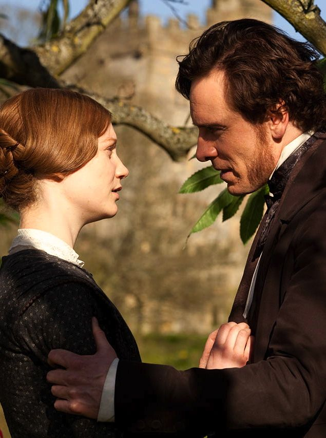 Mia Wasikowska as Jane Eyre and Michael Fassbender as Mr. Rochester in Jane Eyre (2011).