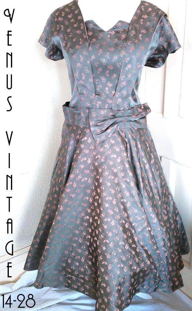 Plus Size UK 16 Vintage 1950s Grey Satin Swing Dress Floral ...