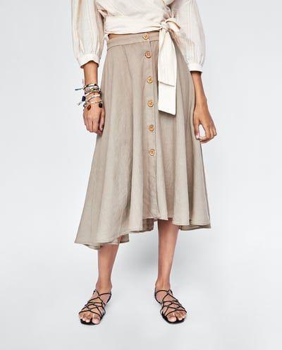 30cb348f0 Imagen 2 de FALDA LINO BOTONES de Zara | All about Zara ♡ | Faldas ...