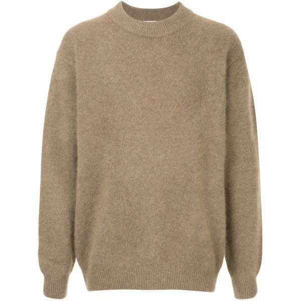 H Beauty&Youth long sleeved jumper ($264) ❤ liked on Polyvore featuring men's fashion, men's clothing, men's sweaters, brown, mens brown sweater, mens wool sweaters and mens woolen sweaters