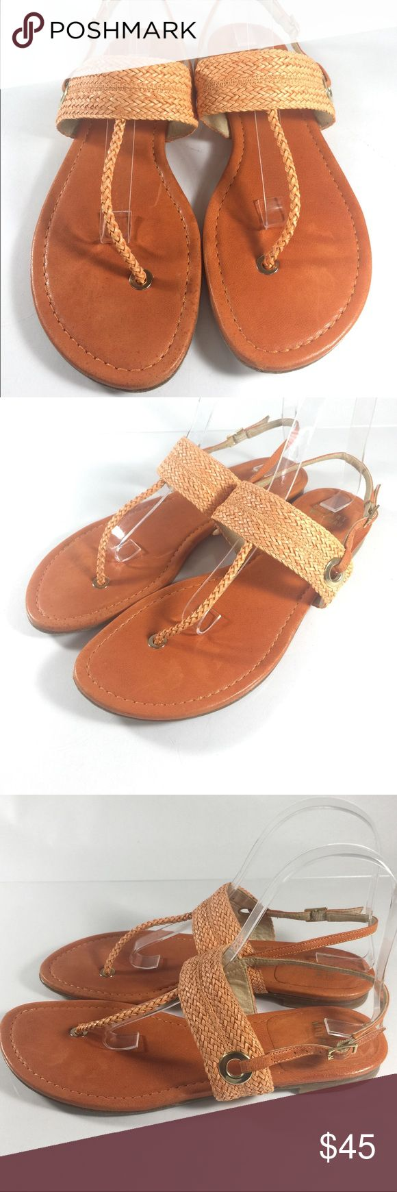 Stuart Weitzman Orange Braided T Strap Sandals 7.5 Up for sale is this cute pair of Stuart Weitzman orange leather sandals. Great pop of color! Braided strap detail, this pair is a must!  Women's Size US 7.5  CONDITION: Good Condition! Overall signs of minor wear. Please see photos Stuart Weitzman Shoes Sandals