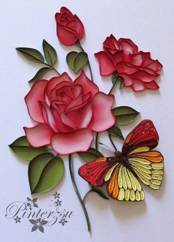 Roses with butterfly by pinterzsu on DeviantArt