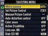 Explanations and tips for each single setting of the Nikon D7000: Shooting menu / White balance
