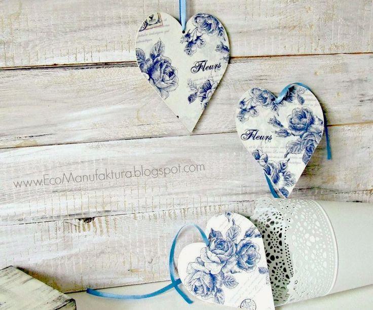 serca decoupage serwetka w kwiaty by Eco Manufaktura