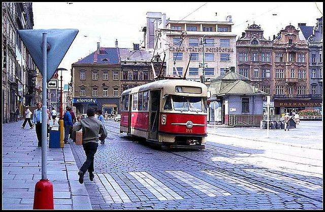 Tram in Plzen (Pilsen), West Bohemia, Czech Republic, 1976