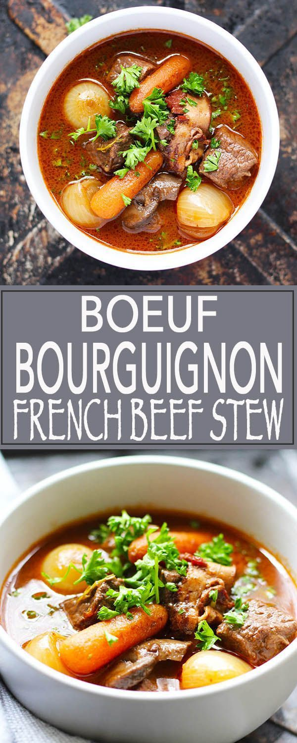 Boeuf Bourguignon | French Beef Stew | Sunday Dinner | Easter Dinner | Bastille Day | soup | stew | beef stew | beef | onions | carrots | mushrooms | red wine | http://FusionCraftiness.com