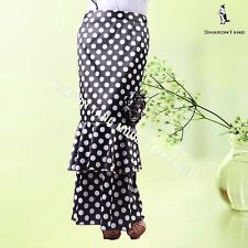 SHARON TANG Modest Apparel Long Polka Dot Ruffle Stretch Flower Maxi Skirt