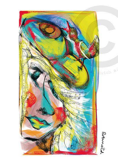 Ibiza gemaakt door Rotmeid. Rotmeid is een Delftse kunstenaar en maakt haar illustraties digitaal. Ze schildert als het ware op een beeldscherm.