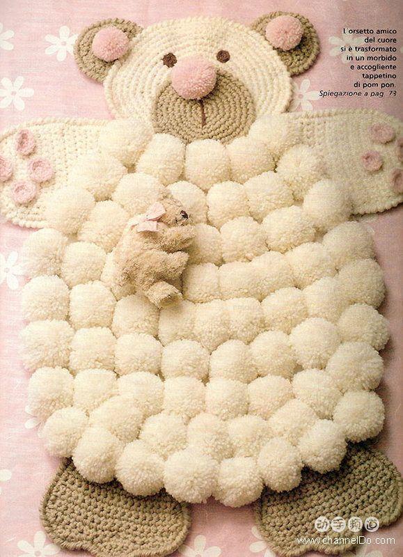 17 mejores im genes sobre pompones de lana en pinterest - Alfombra de pompones ...