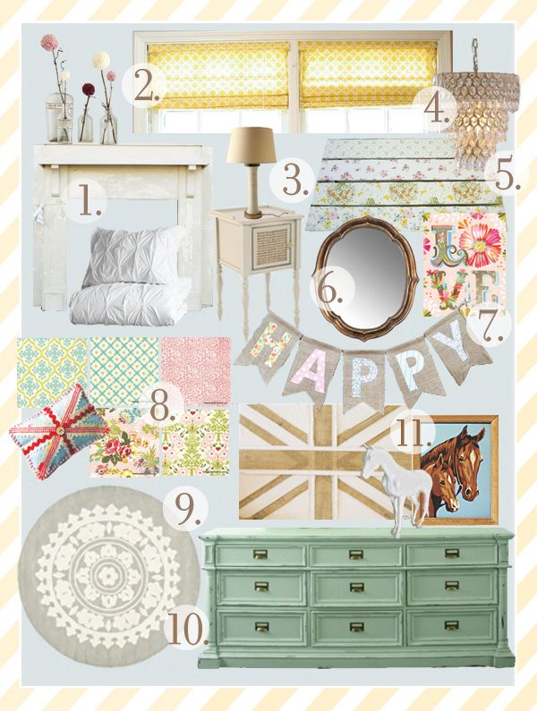 cute inspiration board for vintage equestrian girl. LOVE the lamp, boards with vintage fabric for shelves, and the Katie Daisy print