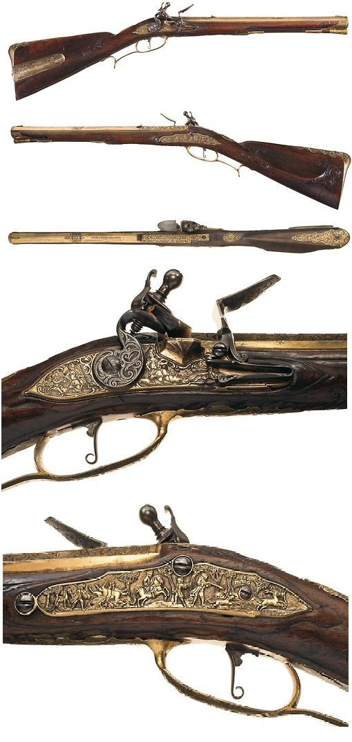Extraordinary gilded brass ornate relief flintlock musket crafted by Iohan Adam Knod of Carlsbad, circa 1730.