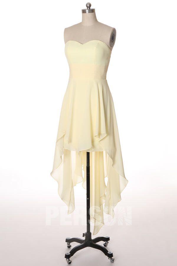 Robe bustier jaune pale courte devant longue à l'arrière : idéale pour les fêtes !