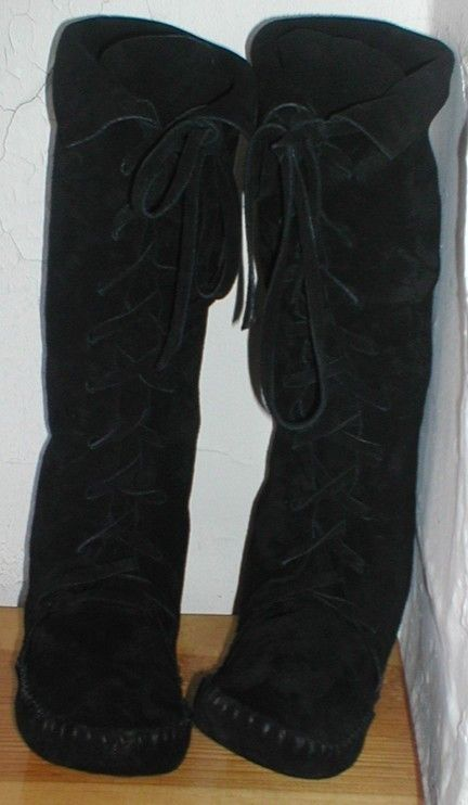 Black moccasin knee high Elf Boots ORDER YOUR SIZE by earthgarden