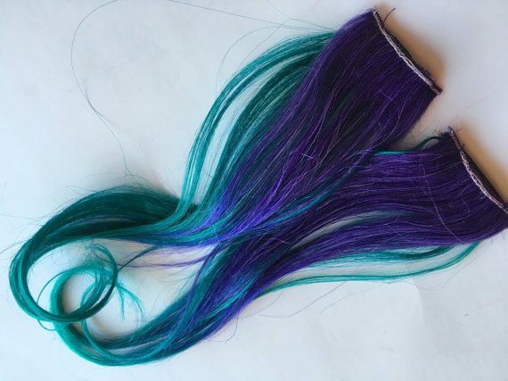 READY TO SHIP Ombre Human Hair Extensions Streaks Purple and by damnationhair