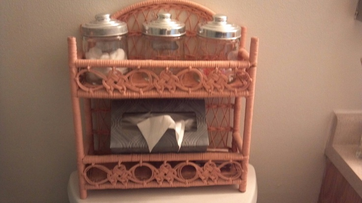 Peach wicker shelf. Haven't gotten around to painting it yet. $5