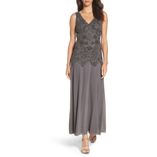 Women's Pisarro Nights Embellished Mesh & Chiffon Gown (265 CAD) ❤ liked on Polyvore featuring dresses, gowns, ash, petite, petite dresses, embellished dress, sparkly evening dresses, drop waist gown and petite ball gowns