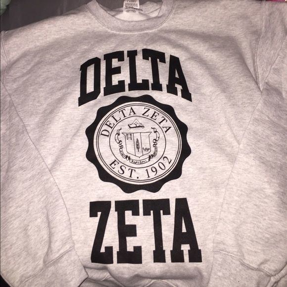 delta zeta sweatshirt delta zeta crest sweatshirt.. medium.. never worn Gildan Tops Sweatshirts & Hoodies