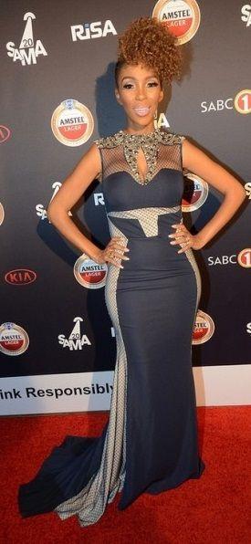 "Nhalanhla Nciza "" Mafikizolo"" wearing Cinnel at the South African music awards."