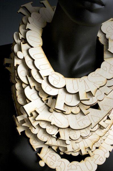 Necklace |  Anne M. Fiala. 'Ophelia' Burn, felt, fiber, lasercut.