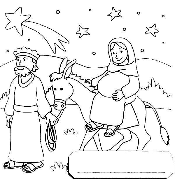 Mary And Joseph Travel To Bethlehem Coloring Pages Nativity