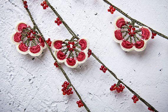 "turkish lace - needle lace - crochet - oya necklace - 143.70"" - free worldwide shipment with UPS - mekiye-002"