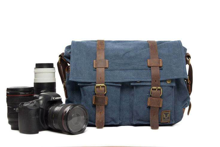 Canvas DSLR Camera Bag Cross Body Messenger Camera Bag for Canon EOS Nikon Sony Olympus 2138L - Leajanebag