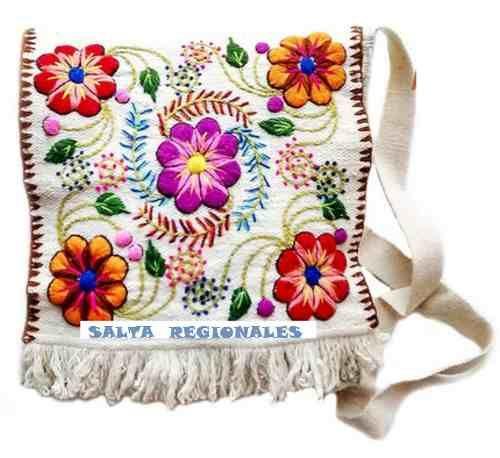morral cartera bolso bordado peruano - de lana de oveja